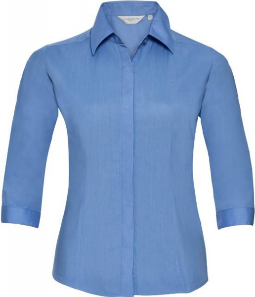 Damen Bluse 3/4 kurzarm Russell Collection Fitted Polycotton R-926F-0 Corporate Blue