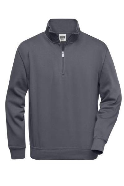 Pullover mit Zipper James&Nicholson Workwear Half Zip Sweat JN831 carbon