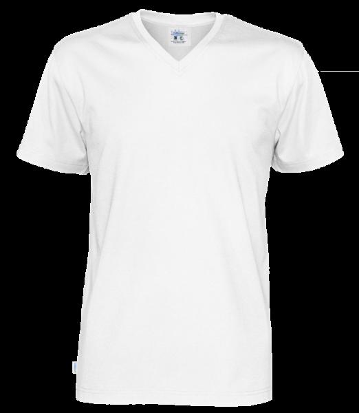 Herren T-Shirt kurzarm Cottover Jersey SS V-neck 141022 White 100