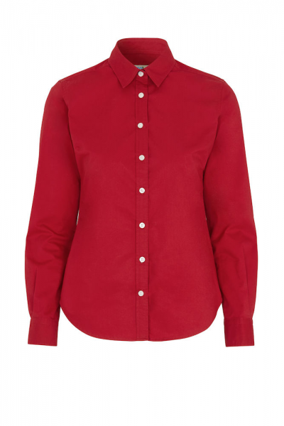 Bluse Langarm Cottover Twill 141037 Rot 460