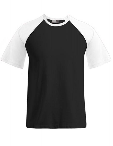Herren T-Shirt kurzarm Promodoro Raglan T 1060 Black/White
