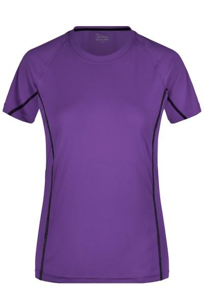 T-Shirt kurzarm James&Nicholson Ladies Running Reflex-T JN422 purple/black