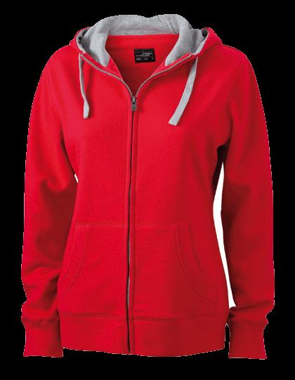 Damen Kapuzenjacke James&Nicholson Lifestyle Zip-Hoody JN 962 Red Grey-Heather_1