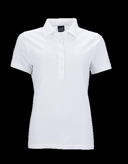 Damen Poloshirt kurzarm James&Nicholson Elastic JN709 White_1