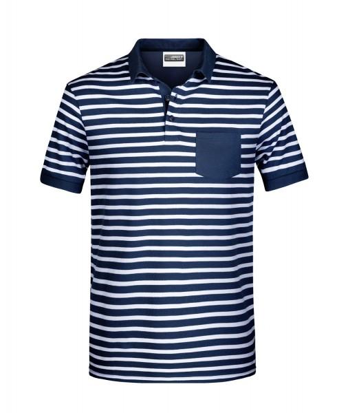 Poloshirt kurzarm James&Nicholson Men's Polo Striped JN8030 navy/white
