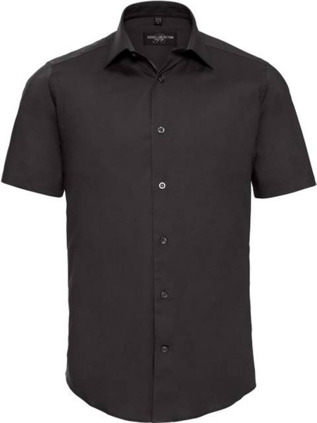 Herren Hemd kurzarm Russell Collection Fitted Stretch R-947M-0 Black