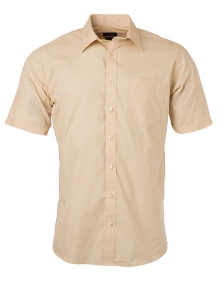 Hemd kurzarm James&Nicholson Men's Shirt Shortsleeve Popeline JN680 stone