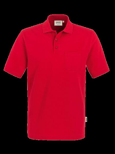 Herren Poloshirt kurzarm mit Brusttasche Hakro Top 802 rot 002_1