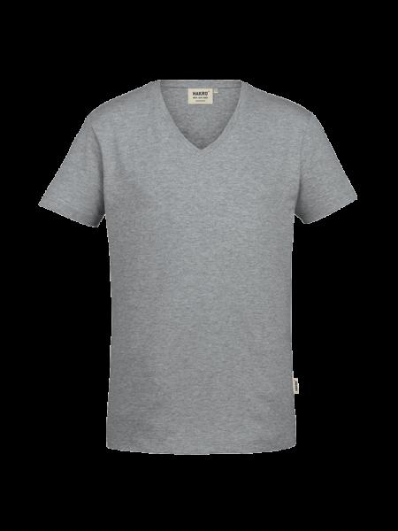 Herren T-Shirt V-Neck kurzarm Hakro Stretch 272 grau meliert 015_1