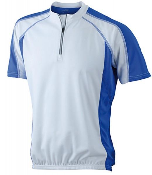 T-Shirt kurzarm James&Nicholson Men's Bike-T JN420 white/royal