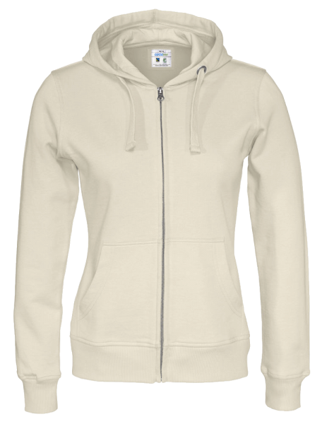 Damen Kapuzenjacke Cottover Full Zip Hoody 141009 Off-White 105