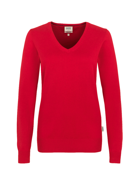 Damen Pullover V-Neck Hakro Premium-Cotton 133 rot 002_1