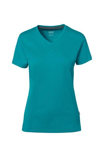 Damen T-Shirt V-Neck kurzarm Hakro Cotton Tec 169 smaragd 012