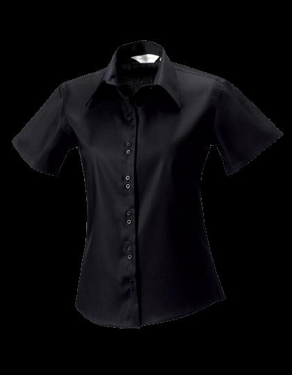 Damen Bluse kurzarm Russell Ultimate Non-Iron R-957F-0 Black_1