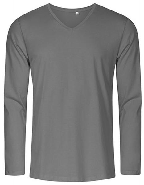 Herren T-Shirt langarm Promodoro V-Neck 1460 Steel Grey (Solid)