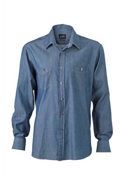Hemd langarm James&Nicholson Men's Denim Shirt JN629 light-denim