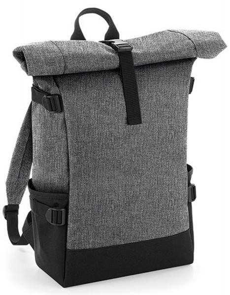 Rucksack BagBase Block Roll-Top Backpack BG858 Grey Marl/Black