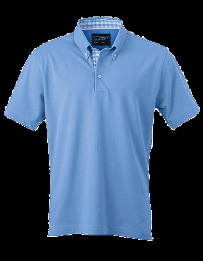 Herren Poloshirt kurzarm James&Nicholson Plain JN 964 Glacier-Blue Glacier-Blue White_1