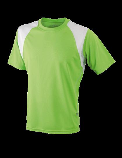 Herren Running-Shirt kurzarm James&Nicholson Running-T JN 397 Lime Green White_1
