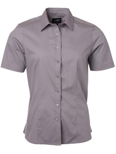 Bluse kurzarm James&Nicholson Ladies Shirt Shortsleeve Poplin JN679 steel