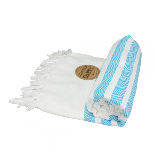 Hamamtuch ARTG Hamamzz Dalaman Towel AR053 White/Aqua Blue