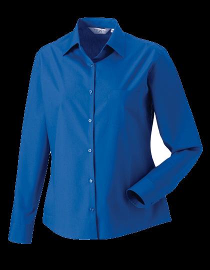 Damen Bluse langarm Russell Pure Cotton Poplin R-936F-0 Aztec Blue_1