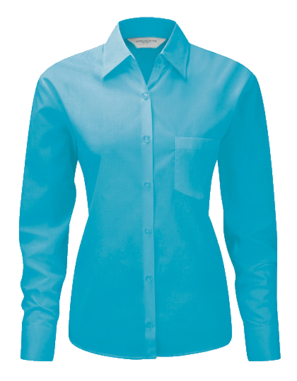 Damen Bluse langarm Russell Polycotton Poplin R-934F-0 Turquoise_1