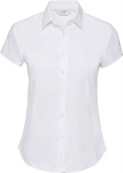Damen Bluse kurzarm Russell Collection Fitted Stretch R-947F-0 White