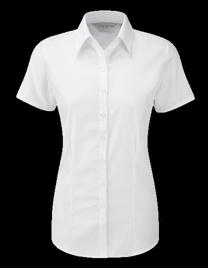 Damen Bluse kurzarm Russell Herringbone R-963F-0 White_1