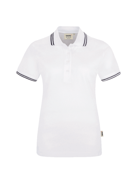 Damen Poloshirt kurzarm Hakro Twin-Stripe 205 weissschwarz 001_1