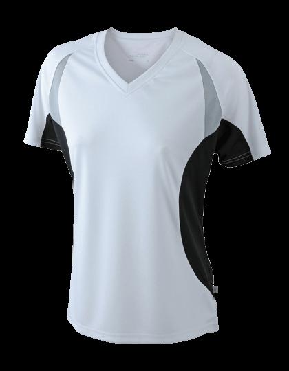 Damen Running-Shirt kurzarm James&Nicholson Running-T JN390 White Black_1