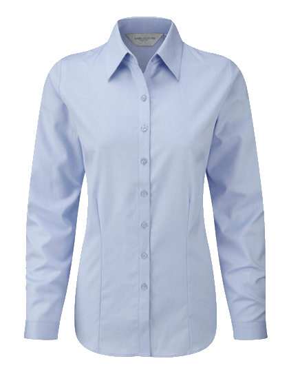 Damen Bluse langarm Russell Herringbone R-962F-0 Light Blue_1