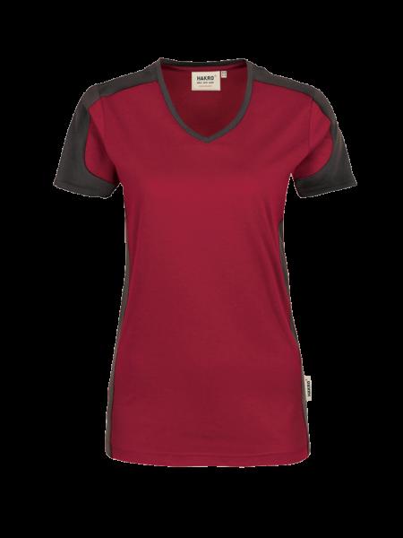 Damen T-Shirt V-Neck kurzarm Hakro Performance 190 weinrot 017_1