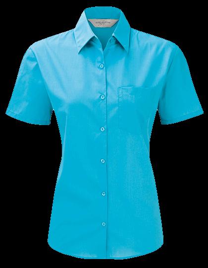 Damen Bluse kurzarm Russell Polycotton Poplin R-935F-0 Turquoise_1