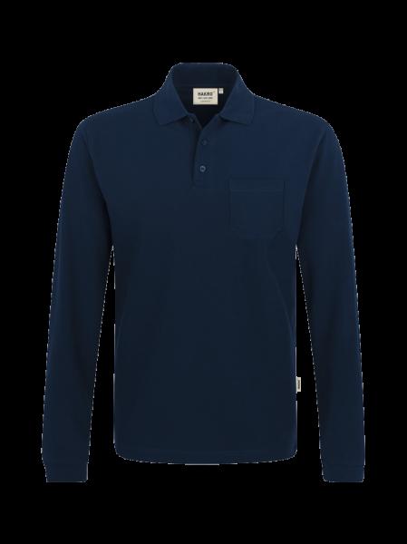 Herren Poloshirt langarm mit Brusttasche Hakro Top 809 tinte 034_1