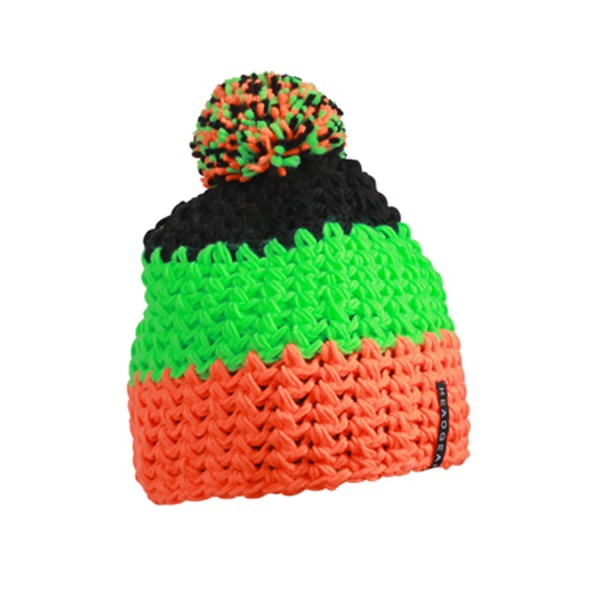 Muetze Myrtle Beach Crocheted Cap with Pompon MB7940 neon-orange/neon-green/black