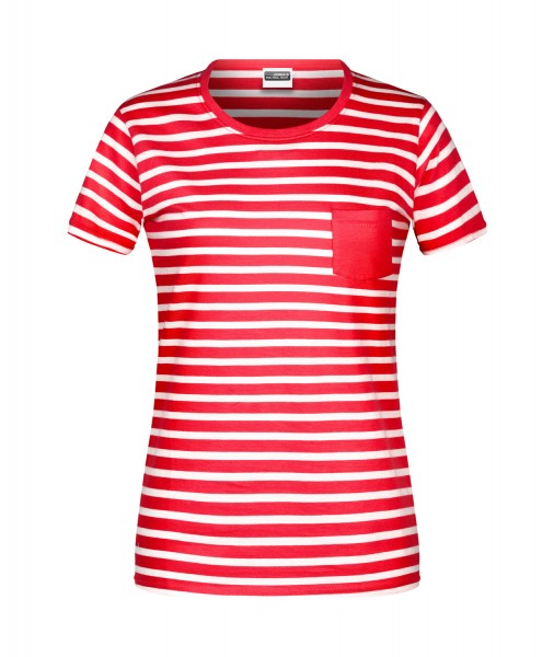 T-Shirt kurzarm James&Nicholson Ladies T-Shirt Striped JN8027 red/white