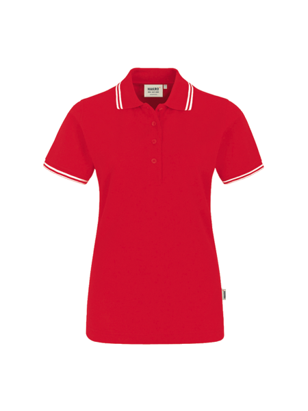 Damen Poloshirt kurzarm Hakro Twin-Stripe 205 rotweiss 002_1