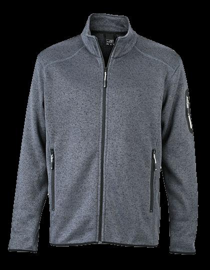 Herren Strickfleecejacke James&Nicholson Knitted JN762 Dark Grey Melange Silver-(Solid)_1