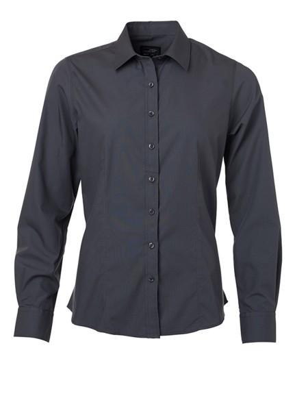 Bluse langarm James&Nicholson Ladies Shirt Longsleeve Poplin JN677 carbon