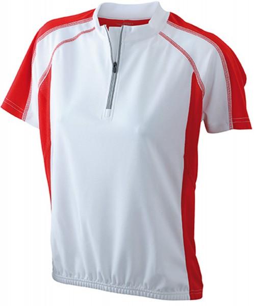 T-Shirt kurzarm James&Nicholson Ladies Bike-T JN419 white/red