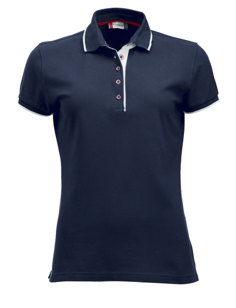 Damen Poloshirt kurzarm Clique Seattle Ladies 028243 Dunkel Marine/Weiss 580_1