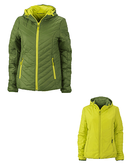 Damen Steppjacke James&Nicholson Lightweight JN1091 Jungle-Green Acid-Yellow_1