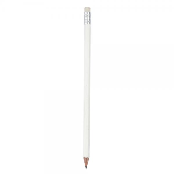 Bleistift 6-eckig mit Radiergummi 2250.11 weiss 50_1