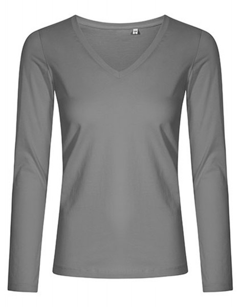 Damen T-Shirt langarm Promodoro V-Neck 1560 Steel Grey (Solid)