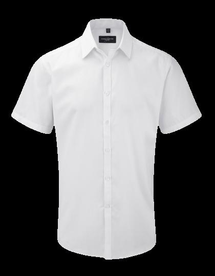 Herren Hemd kurzarm Russell Herringbone Slim R-963M-0 White_1