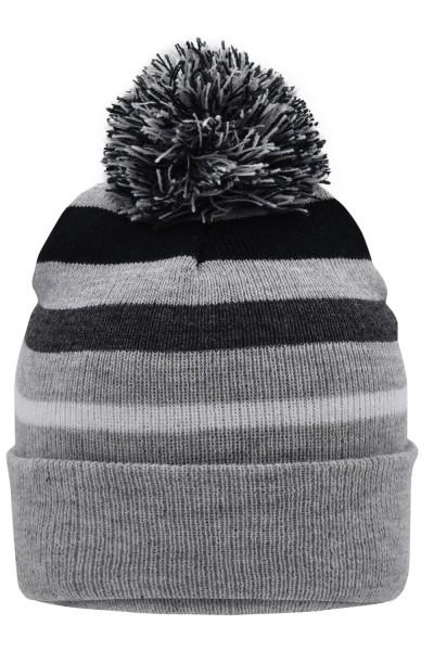 Muetze Myrtle Beach Striped Winter Beanie with Pompon MB7140 light-grey-melange/black