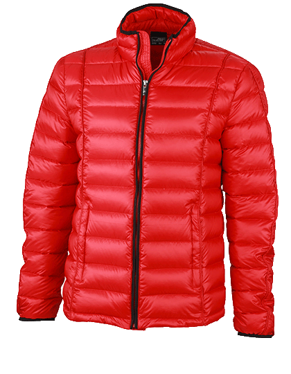 Herren Daunenjacke James&Nicholson Quilted Down JN1082 Red Black_1