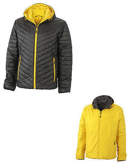 Herren Steppjacke James&Nicholson Lightweight JN1092 Black Yellow_1