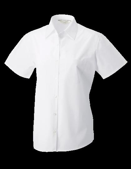 Damen Bluse kurzarm Russell Pure Cotton Poplin R-937F-0 White_1